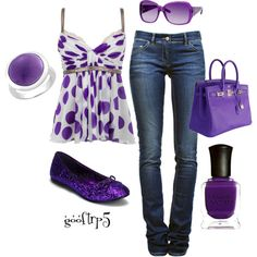 """Purple Polka Dots"" by gooftrp5 on Polyvore"