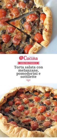 Torta salata con melanzane, pomodorini e sottilette Paleo Pizza, Pizza Recipes, Veggie Recipes, Vegetarian Recipes, Healthy Recipes, I Love Food, Good Food, Yummy Food, Antipasto