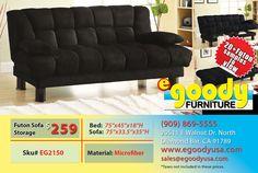 futon sofa bed black microfiber elephant skin with storage