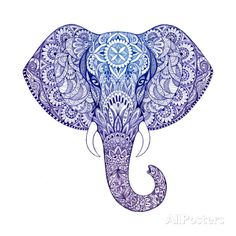 Tattoo Elephant with Patterns and Ornaments Art Print