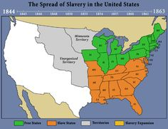 The United States in 1819 (the light orange and light green areas ...