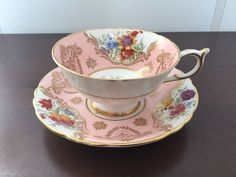 Paragon - 1950s - FLORAL MEDALLION & GOLD FLORAL - PINK TEA CUP & SAUCER | eBay