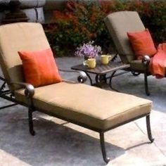 Darlee Santa Monica 2-person Cast Aluminum Patio Chaise Lounge Set - Antique Bronze by Darlee. $1419.00. Lightweight aluminum frame makes rearranging your furniture easy. Cast aluminum construction promotes rust resistance. Set Includes: End Table, 2 Chaise Lounges, Brown Polyester Cushions. Relax more comfortably with polyester seat cushions. Antique bronze powder coating is tougher than conventional paint finishes. Darlee Santa Monica 2-Person Cast Aluminum Patio Chaise Loung...