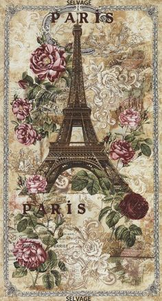 Paris Rendezvous Panel Natural by Timeless Treasures Fabrics. Panel size is 23x44 inches. 100% cotton fabric. Eiffel Tower and roses fabric.