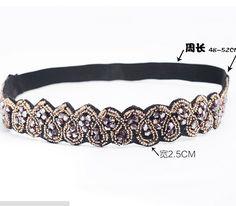 Vintage bohème ethnique or semences perles facettes perles métalliques cardiaques main élastique large bandeau cheveux bande de cheveux accessoires