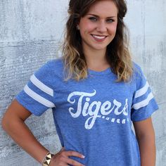 Vintage feel washed generous fit tee with distressed Tiger design