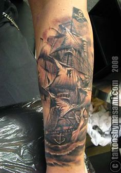 Rob's looking for a tattoo of a pirateship! I think this would be awesome!