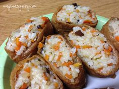 Yubu chobap (Korean version of inari sushi). Korean Dishes, Japanese Dishes, Korean Food, Japanese Food, Japanese Recipes, Sushi Recipes, Asian Recipes, Snack Recipes, Cooking Recipes