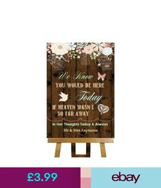Venue Decorations Rustic Wood Effect Loved Ones In Heaven Personalised Wedding Sign #ebay #Home & Garden