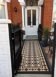 Low maintenance path tile multi colour mosaic front garden design London Clapham Balham Battersea Wandsworth
