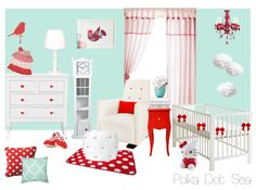 The Polka Dot Sea theme combines unusual colour selections of bold red against a subdued blues and whites to create a soothing yet cute and fun little girl's room. High contrasts play a significant role in stimulating early visual development making this theme a perfect environment for your little one's development.