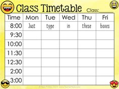 Free Editable Class Timetable with emojis Classroom Schedule Cards, Classroom Labels, Class Schedule, Classroom Decor, Class Timetable, Timetable Template, Middle School Teachers, Teacher Blogs, Learn To Read