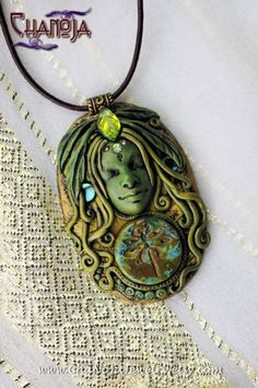 Dragonfly Shaman Woman Pendant 2-green goddess jewelry radiant beauty sacred healing cosmic spirit feathers leaf fairy woodland swarovski by ChaNoJaJewelry
