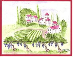 Tuscan Vineyard scene from Art Impressions Project 9 watercolor series