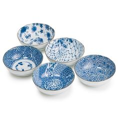 Blue and White 5 Bowl Set