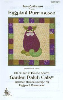 Eggplant Purr-mesan Garden Patch Cats Quilt Block Pattern
