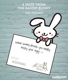 MollyMoo – crafts for kids and their parents A Note From Easter Bunny Free Printable