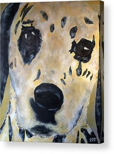 """Dalmation Dog: An acrylic painting of a dalmation dog printed on to the back of a 1/4"""" thick acrylic sheet to produce a high gloss effect by Kelly Goss Art. Delivered """"ready to hang"""" with two mounting options. Perfect to brighten up and decorate your home. Fit for any wall in any room. The special gift to spice up a friend's home decor. For a lover of animals, pets and art."""