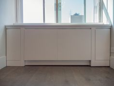 Perfect custom radiator cover with its Modern style matching the rest of the apartment renovation. Custom Radiator Covers, Apartment Renovation, Open Kitchen, Built Ins, Cover Design, Small Spaces, Storage, Interior, Modern