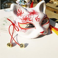 New Japanese Fox Mask Hand-painted Cat Natsumes Book of Friends Pulp Fox Half Face Mask Halloween Cosplay Animal Mask Party Kitsune Maske, Costume Halloween, Japanese Fox Mask, Mask Drawing, Kawaii Accessories, Cat Mask, Animal Masks, Masks Art, Japanese Outfits
