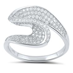 Sterling Silver Micro Pave Twist Statement Ring