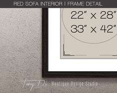 Red Sofa Wall Interior Black Wood Frame Wall by TanyDiDesignStudio