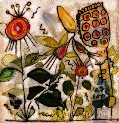 The Old Cells Studio - Michèle Brown Art: Exotic garden - painting, collage and digital imag...