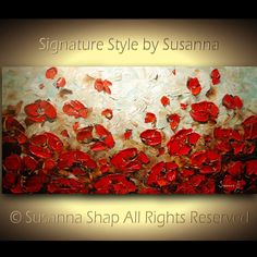 ORIGINAL Large Abstract Brown Blue Red Poppies by ModernHouseArt, $400.00