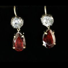 GEORGIAN PASTE & GARNET DROP GOLD/SILVER EARRINGS