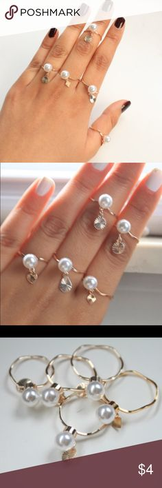 Set of gold Pearl rings Gold Pearl Set.  Set of 5!!  Sizes: 9, 6.5, 5, 9, 7.5 Jewelry Rings