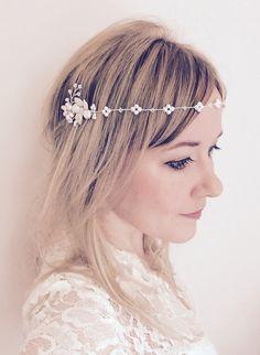 Bridal headpiece floral pearl forehead by JoannaReedBridal on Etsy