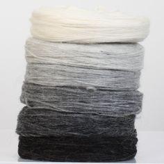 Icelandic unspun Lopi wool yarn; greyscale stack' by Knittingiceland on Etsy....Lopi sheep produce some of the best wool on the planet!