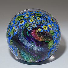 Forget-Me-Nots Paperweight Art Glass Paperweight by Shawn Messenger