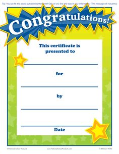 Printable Congratulations! Award for Teachers (Free) :: National ...