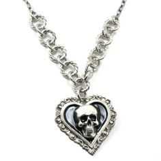 Gothic Necklace - Memento Mori Necklace - The Second Circle - Dante's Inferno Inspired Lace Edge Skull Heart Pendant by Ghostlove. $32.00, via Etsy.