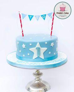 Baby boy first birthday stars themed birthday cake