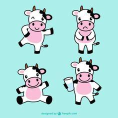 Ilustraciones de vacas lindas Vector Gratis