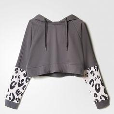 adidas STELLASPORT Hoodie ($35) ❤ liked on Polyvore featuring tops, hoodies, pullover hoodies, black pullover hoodie, black hoodies, black hoodie and cropped hoodies