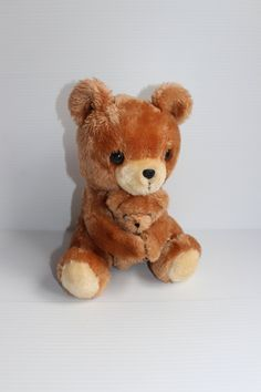 BROWN PLUSH BEAR holding bear,Vintage plush bear,Vintage Dakin stuffed bear, Cute brown bear,Brown lovey, gift for child, 1970s plush by TheJellyJar on Etsy