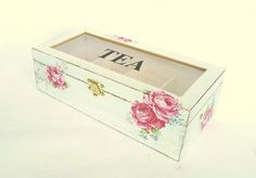 I would die. This is perfect! Wooden Tea Box Tea Storage Box Rustic Tea bag by SayaArtDesign