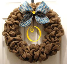 Cute wreath Large Burlap Wreath Burlap Chevron Bow Monogram by DisarrayDesigns, $40.00