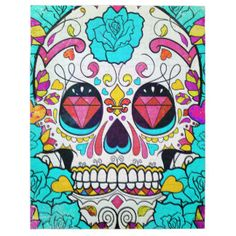 Hipster Sugar Skull and Teal Blue Floral Roses Puzzles