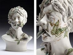 Haunting Ceramic Faces  Overgrown with Vegetation by Jess Riva Cooper