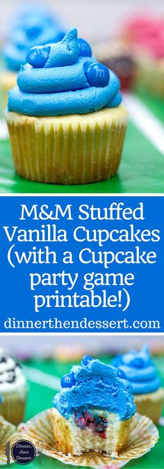 M&M's Stuffed Easy Vanilla Cupcakes with Vanilla Frosting and the stuffing makes for a fun party game for teams! (with a Super Bowl party game printable!) ad #sweetenthespread