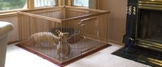 Indoor dog crates with floors and optional tops, large wooden pet pens for smaller dogs, and wooden pet gates. Small Puppies, Small Dogs, Wooden Dog Crate, Dog Crates, Waterproof Floor Mats, Puppy Gates, Puppy Pens, Dog Pen, Pet Gate