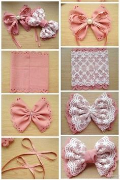 Stylish Hair Bow Tutorials - lilostyle - - Bows are pretty accessories for women. We wear bows everywhere. If you're addicted to bow fashion, you can also combine your bow outfit with a unique bow made from your own hair. The hair bow must. Fabric Hair Bows, Diy Hair Bows, Making Hair Bows, Ribbon Hair, Flower Hair Bows, Flower Headbands, Diy Baby Headbands, Diy Headband, Baby Bows