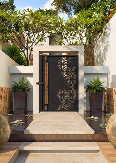 Main Entrance Door Design, Front Door Design, Entrance Gates, House Entrance, Gate Designs Modern, Modern Exterior House Designs, Exterior Design, Modern Front Gate Design, Iron Main Gate Design