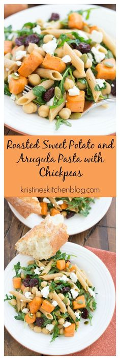 You'll love this Roasted Sweet Potato and Arugula Pasta with Chickpeas. This 30 minute meal is packed with flavor and perfect for busy weeknights!