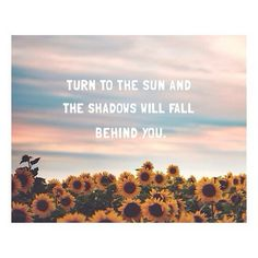 Turn to the SUN and the shadows will fall behind yoy