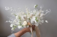 Dried & Fresh Floral Bouquet By The Green Petal Straw flower, bleached ruscus, bunny tail grass, sweet peas Sweet Pea Bouquet, Sweet Pea Flowers, Dry Flowers, Blush Flowers, White Wedding Flowers, White Bridal, Floral Wedding, Fall Bouquets, Floral Bouquets